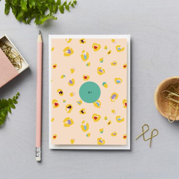 Hi card love and friendship card hi card with yellow leopard print design