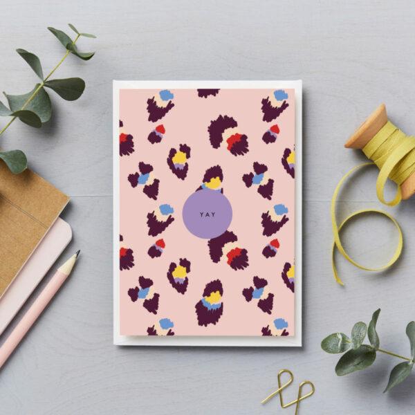 Yay card birthday card pink leopard print multicoloured