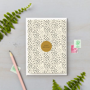 Happy birthday card black and gold animal print abstract spot