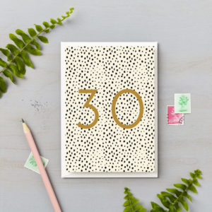 30th birthday black spots with gold foil numbers special milestone birthday