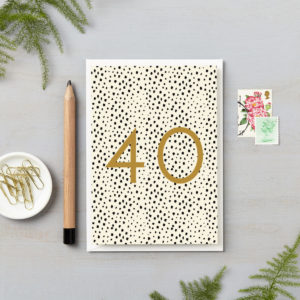 40th birthday black spots with gold foil numbers special milestone birthday