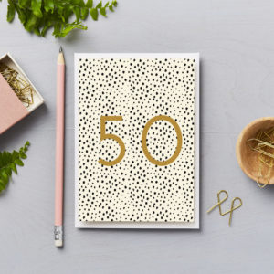 50th birthday black spots with gold foil numbers special milestone birthday