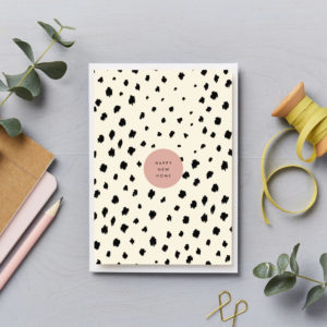 happy new home card simple black and pink animal print