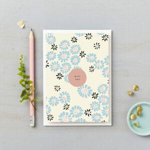 Miss you blue daisies card