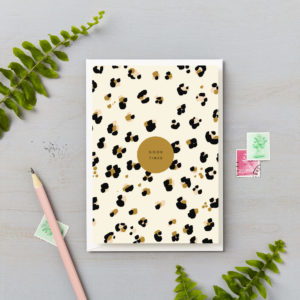 Good times leopard cheetah animal print birthday celebration card
