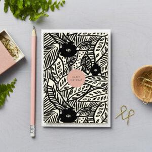 Happy Birthday card tropical modern botanical design brush strokes black
