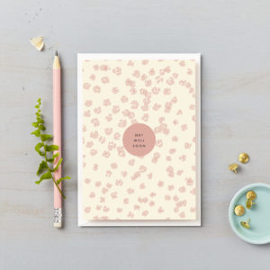Get well soon pink flower leopard print sympathy card illness card