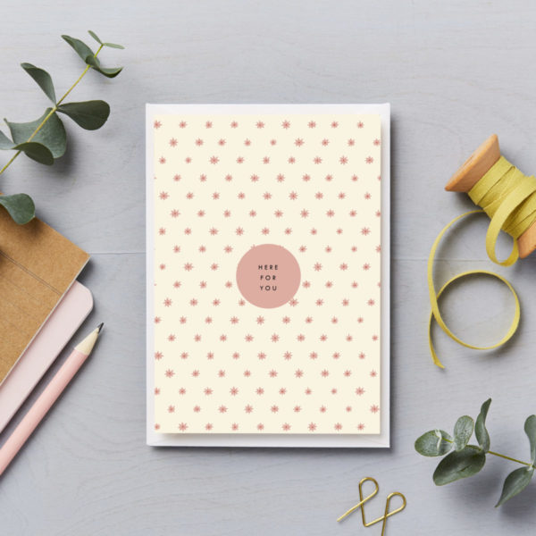 Here for you greetings card little pink stars
