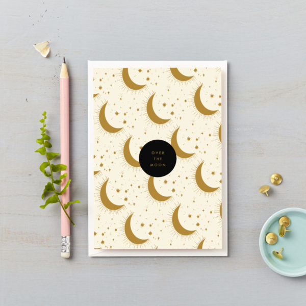 Over the moon greetings card gold moons celebration happy card