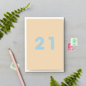 21st Birthday Card Bright Block Retro Colours