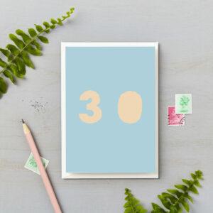 30th Birthday Card Bright Block Retro Colours