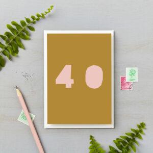 40th Birthday Card Bright Block Retro Colours