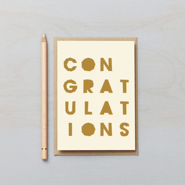 Congratulations letters card paper cut style typographic