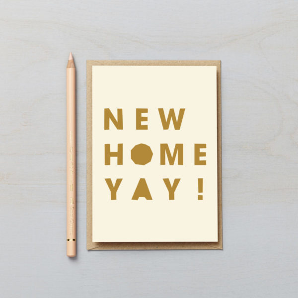 New Home Yay! letters card paper cut style typographic