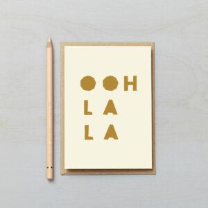 Ooh la la letters card paper cut style typographic
