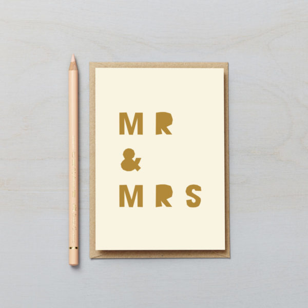 Mr and Mrs letters card paper cut style typographic new parent