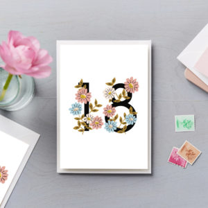 18th Birthday Card Flower Numbers