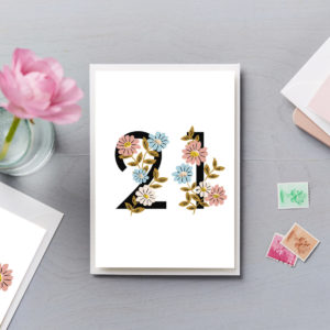 21st Birthday Card Flower Numbers