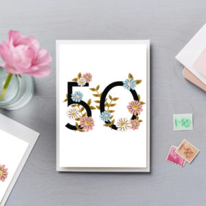 50th Birthday Card Flower Numbers