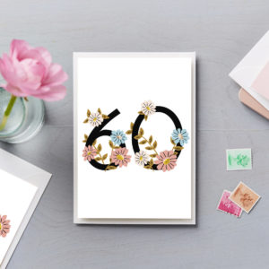 60th Birthday Card Flower Numbers