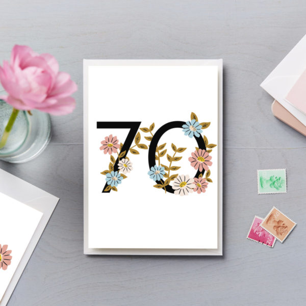 70th Birthday Card Flower Numbers