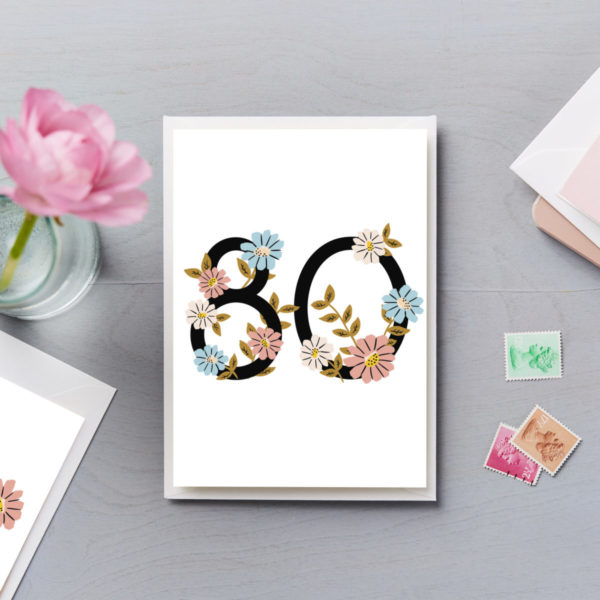80th Birthday Card Flower Numbers