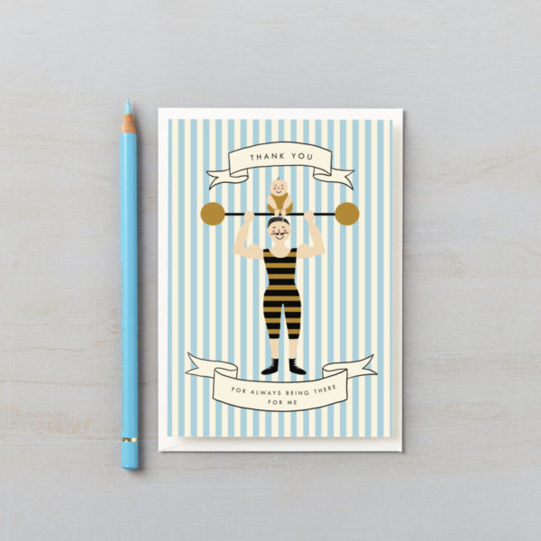 Dad Strongman fathers day card vintage striped