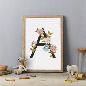 A Flower alphabet letter A personalised childrens wall art initial print