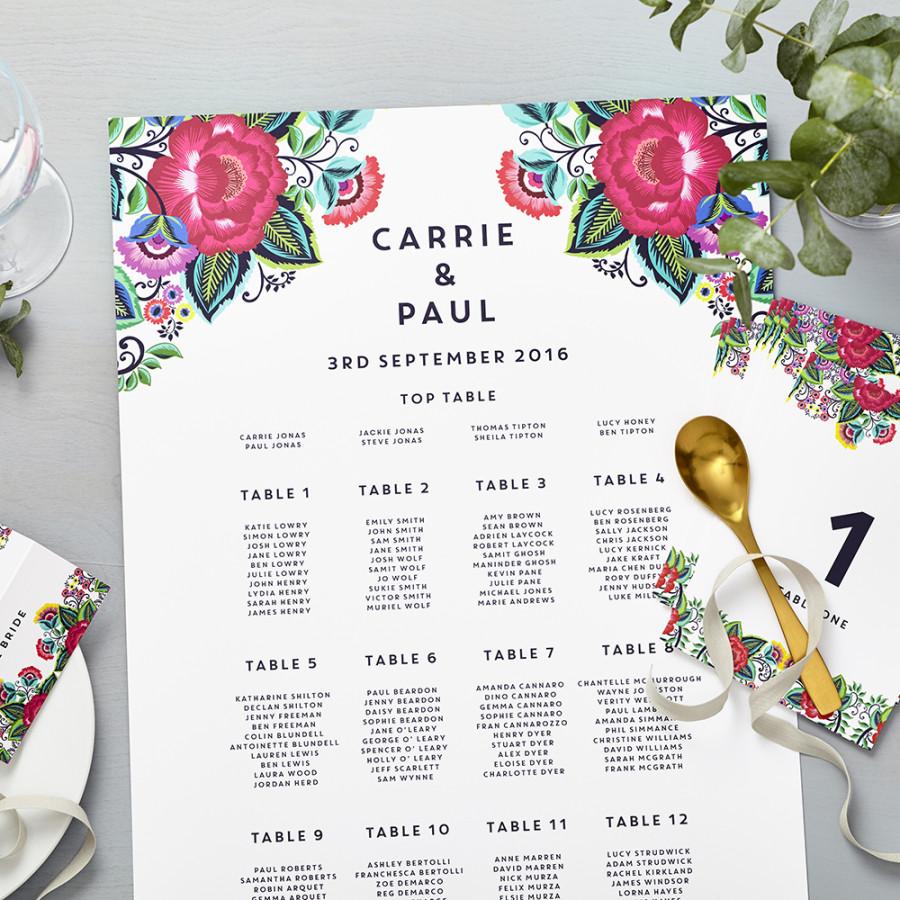 Debenhams Wedding Service Gift List Number: Floral Folk Personalised Thank You Cards