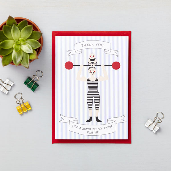 Lucy says I do greetings cards_fathers day strongman