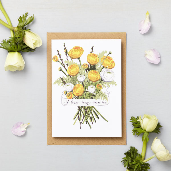 Lucy says I do greetings cards_mothers day yellow bouquet