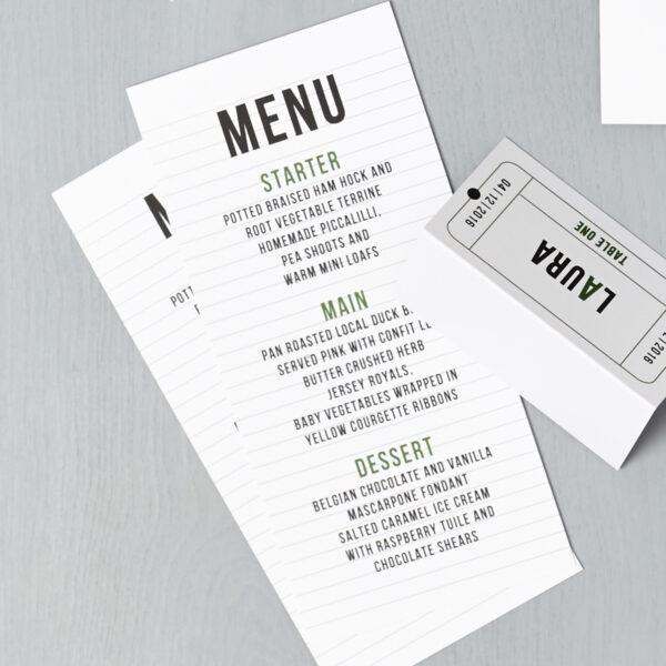 Lucy says I do wedding stationery menu cinema green