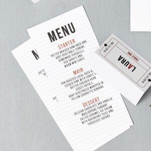 Lucy says I do wedding stationery menu cinema red