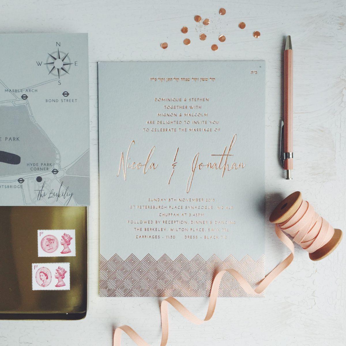 Bespoke Copper foil invitation Berkley London on grey card