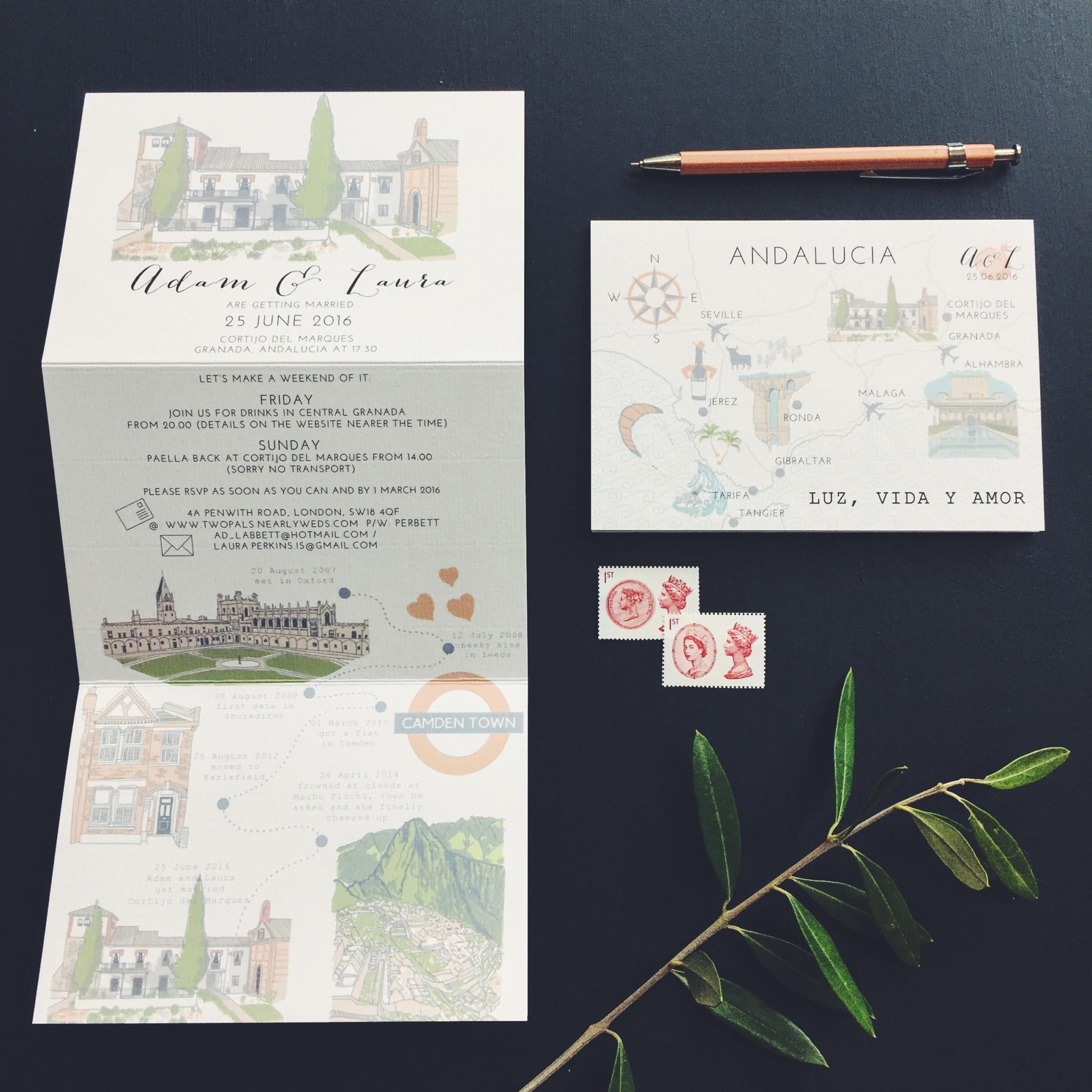 bespoke stationery hand illustrated spanish wedding granada cortijo del marques