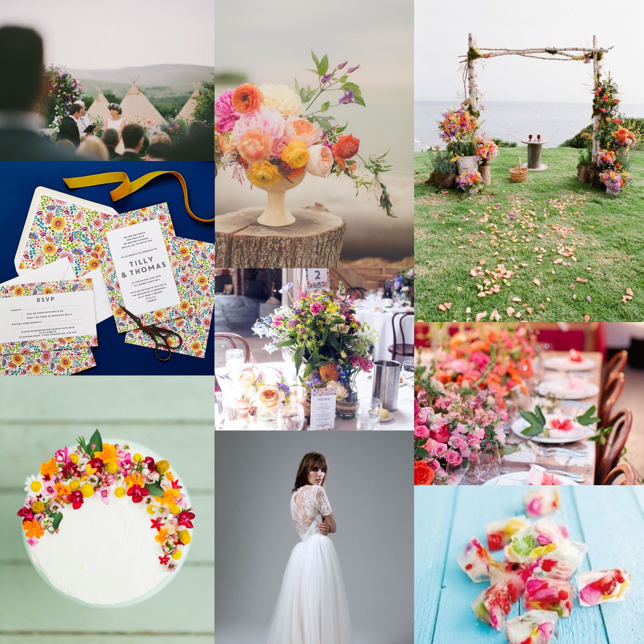 Lucy says I do bright flowers wedding stationery design inspiration board