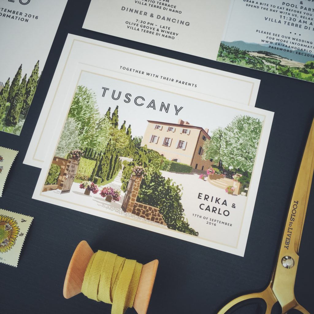 vintage travel postcard style invitation tuscany wedding italy