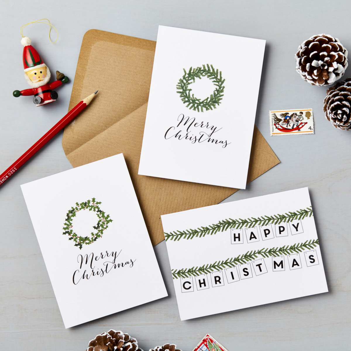 Pack Of 6 Illustrated Wreath Charity Christmas Cards