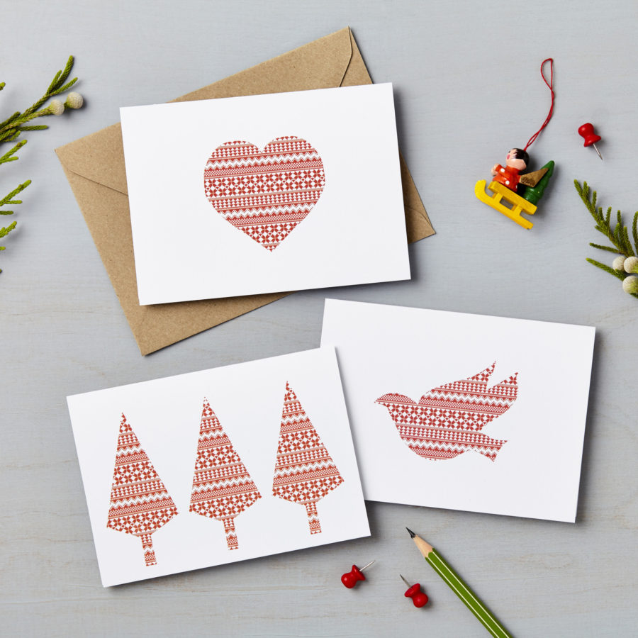 Pack of 9 hand-drawn Nordic Charity Christmas Cards | Lucy Says I Do