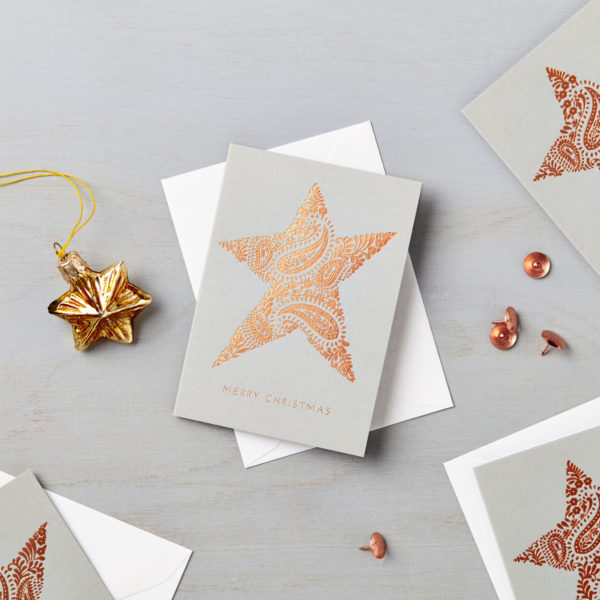Lucy says I do Christmas star paisley charity card copper foil
