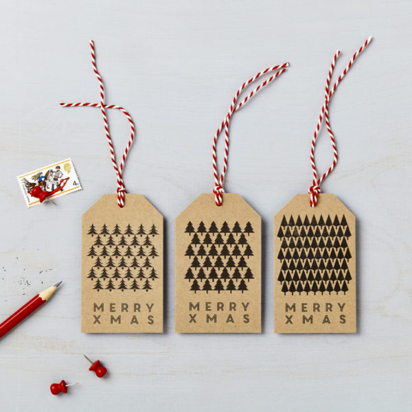 Lucy says I do brown kraft christmas tree gift tags