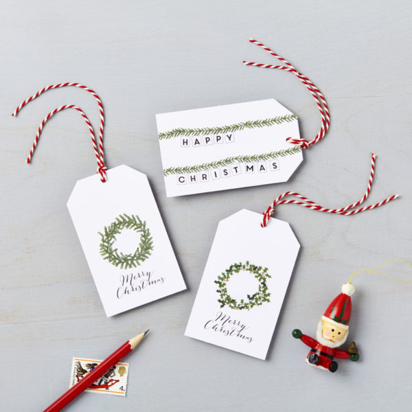 Lucy says I do green wreath design christmas gift tags charity