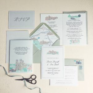 Dounia and Tom yorkshire wedding venue save the date illustration york envelope liner
