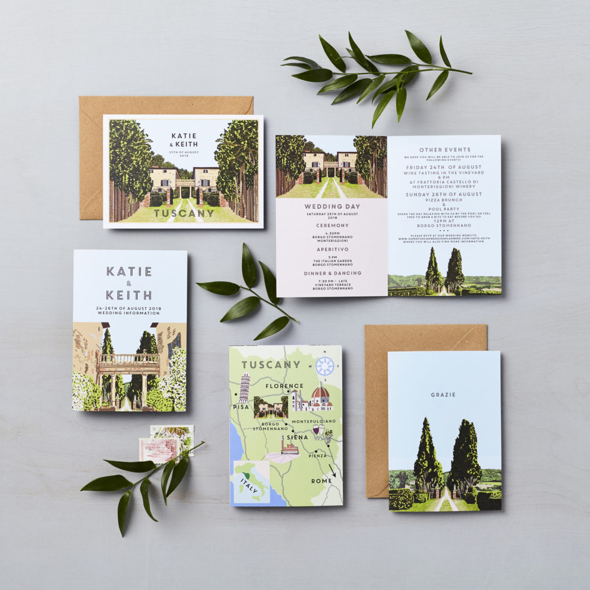 LSID bespoke wedding invitation Katie and Keith Tuscany LucysaysIdo