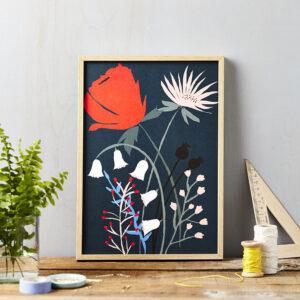 LSID art print red flower on blue framed