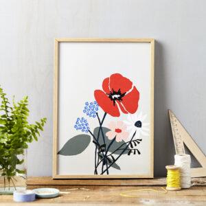 LSID art print red flower on grey framed