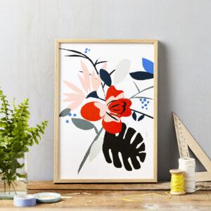 LSID art print red flower on white framed