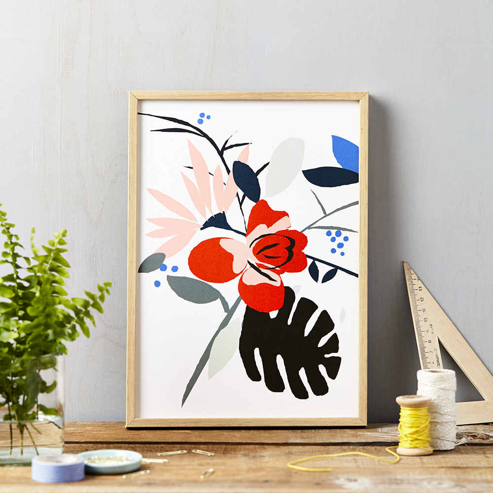 Red Flower on White Art Print A4 | Lucy Says I Do