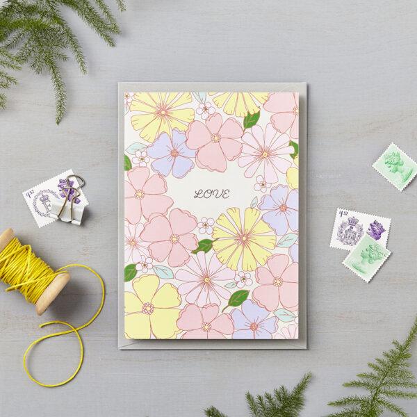 LSID greetings card Love 70s retro floral