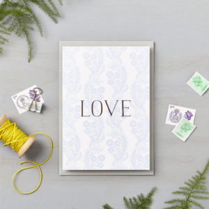 LSID greetings card blue floral pattern love